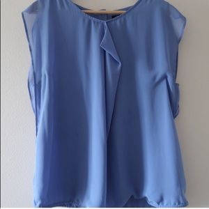 Kenneth Cole Chiffon Periwinkle Blue Ruffle Blouse